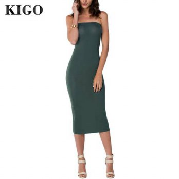 [globalbuy] KIGO Women Party Bodycon Dress Vestidos Bandage Night Sleeveless Sexy Club Dre/4224685