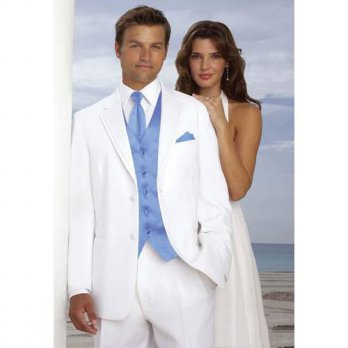 [globalbuy] Top Pouplar White Groom Tuxedos Groomsman Mens Wedding Prom Suits Custom Made /4219609
