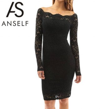 [globalbuy] ANSELF Sexy Bodycon Lace Women Dress Slash Neck Long Sleeve Bandage Autumn Dre/4224677