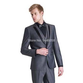[globalbuy] Custom Made Mens Suits 2015 Wedding Tuxedos Dark Grey Men Wedding Suit With Pa/4219589