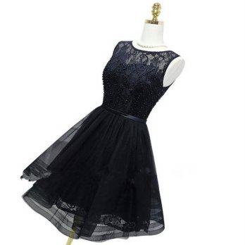 [globalbuy] Custom Made Elegant Scalloped Cocktail Dress Organza Cheap Pleat Ruffles A Lin/4224645