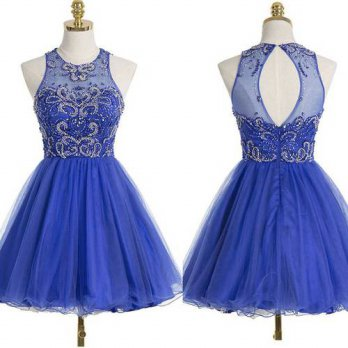 [globalbuy] Cute Sparkly Royal Blue Juniors Short Cocktail Party Dresses A-line Beaded Cry/4224641