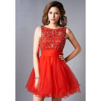[globalbuy] Sexy Red Short Mini Cocktail Dresses 2016 Crystal Beaded Lace Backless Coctail/4224603
