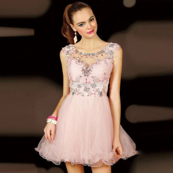 [globalbuy] Sexy Short Mini Cocktail Dresses 2016 Crystal Beaded Pink Coctail robe de Cock/4224584