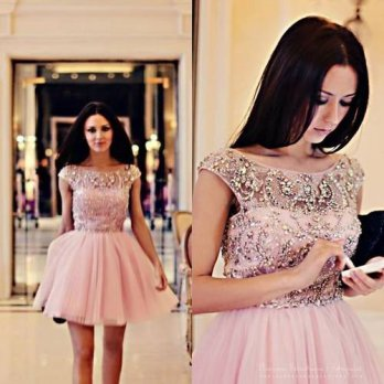 [globalbuy] Vestidos De Coctel Luxury Sparking Pink Party Dress V Back Short Cocktail Dres/4224553