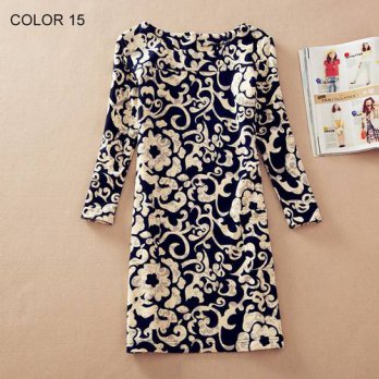[globalbuy] Women Clothing Spring Flower Print O-Neck Women Dress Ladies Long Sleeve Casua/4224692