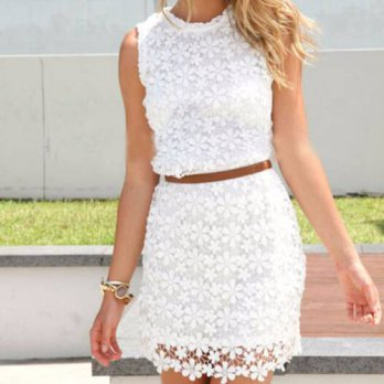 [globalbuy] 1pc new summer autumn white cute sundress solid colors elegant floral lace Cro/4224681