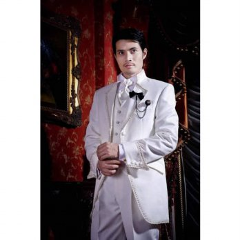 [globalbuy] White With Edge Accessorize Groom Tuxedos Handsome Groomsmen Mens Wedding Prom/4219579