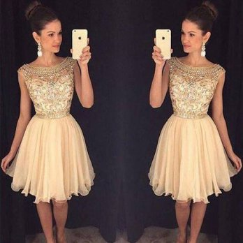 [globalbuy] 2016 Champagne Sparkly Short Prom Cocktail Dresses Cute Beaded A-line Knee Len/4224649