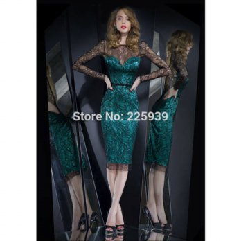 [globalbuy] Boat Neck Beautiful Black Lace Knee Length Open Back Elegant Long Sleeves Cock/4224617