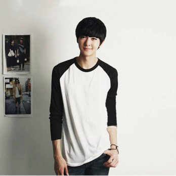 [globalbuy] 2015 Men Black White Raglan Long Sleeved T shirt Cotton Man Clothing Boys Top /4218873