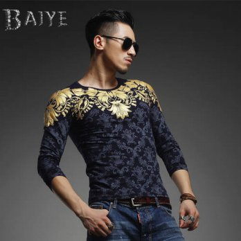 [globalbuy] 2015 fashionable tops men casual shirt mens autumn clothing brand luxury T-shi/4218821