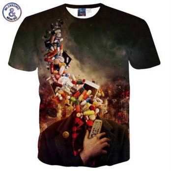 [globalbuy] Mr.1991INC Public interest Mens t-shirt 3d print pill Environmental Protection/4218841