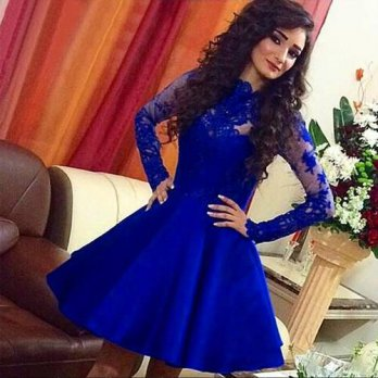 [globalbuy] Lace Knee Length Royal Blue Full Sleeve 2016 Cocktail Party Dresses summer Gow/4224519