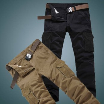 [globalbuy] Autumn and winter multi-pocket overalls male trousers outside casual 100 cotto/4218752