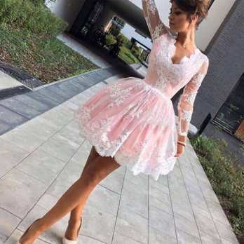 [globalbuy] Sexy Long Sleeves Short Cocktail Dresses 2017 Pink Lace Applique Deep V-Neck B/4224484