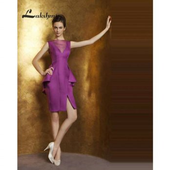 [globalbuy] Elegant Sheer Neck Homecoming Dresses Sheath Party Gowns with Slit Custom Made/4224478