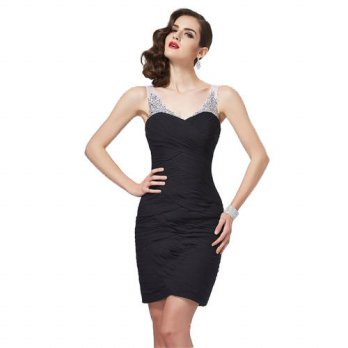 [globalbuy] fashion slim cocktail dresses 2017 new Little black dress knee length pleat ch/4224477