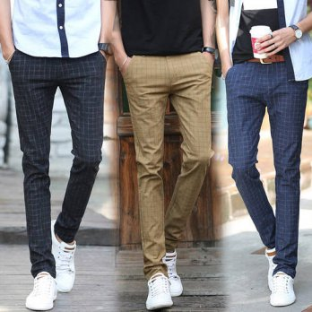 [globalbuy] 2016 new autumn winter men Business casual pants SLIM STRAIGHT Mens plaid dres/4218736