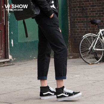 [globalbuy] VIISHOW Straight Pants Men Black Sweatpants Casual Hip Hop Long Trousers Men C/4218719
