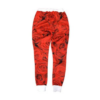 [globalbuy] Spring Autumn mens brand hamburger pants Hip Hop Dance trousers Rose Flowers c/4218717
