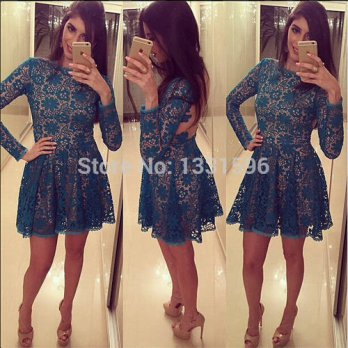 [globalbuy] 2015 Hot Selling Regular Natural Full Lace Cocktail Party Dress With Long Slee/4224442