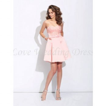 [globalbuy] Pink New Satin Cocktail Dress Sweetheart Appliques Prom Dress Ribbons Sash Pro/4224434
