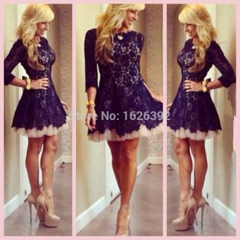 [globalbuy] Best Sale Black Lace Cocktail Party Dresses With Sleeve Boat Neckline Fashion /4224430