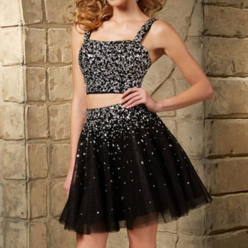 [globalbuy] Two Pieces Sexy Black Cocktail Dresses 2016 Beading Prom Dress CP-5 Tulle Chea/4224420