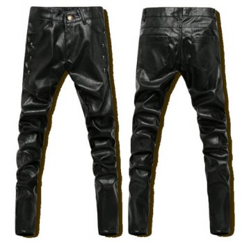 [globalbuy] Black Hip Hop Pants Men Leather Pants Faux Leather Skinny PU Pants Men Long Fa/4218693