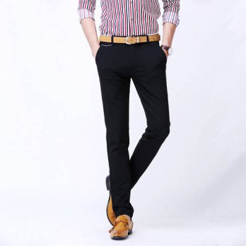 [globalbuy] casual pants men cotton classic basic england style business all match cotton /4218685