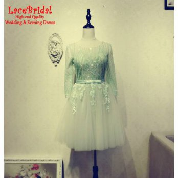 [globalbuy] Dubai Luxury Sexy See Through Mint Green Ball Gown Crystal Sequins Short Cockt/4224391