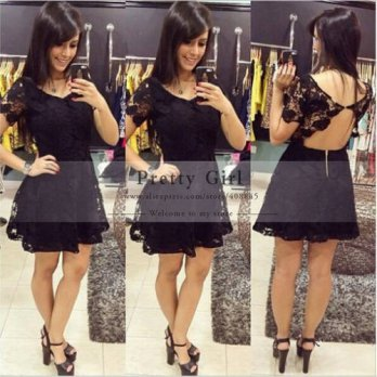 [globalbuy] Vestidos Elegant Little Black Dress Scoop Neck Appliques Lace Backless Short C/4224388