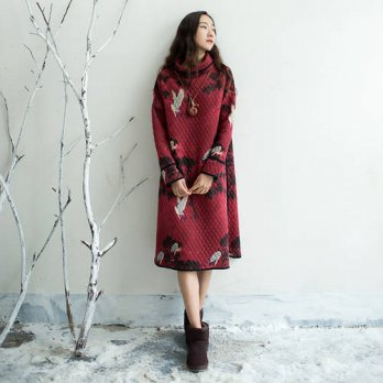 [globalbuy] Long sleeve Turtleneck Winter Autumn Dress Women Cotton Thick Warm Print Dress/4224339