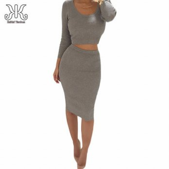 [globalbuy] 2 Piece Set Women Two Piece Outfits Long Sleeve Party Dresses Sexy Bandage Dre/4224337