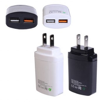 [globalbuy] US Regulations Black/White QC 3.0 Dual USB Travel Fast Charge Mobile Phone Cha/3778977