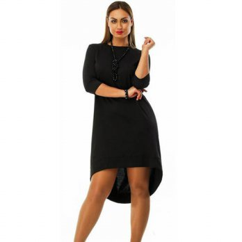 [globalbuy] XL-5XL Plus Size Autumn Winter Loose Sexy Women Dress 2016 Front Short Back Lo/4224290