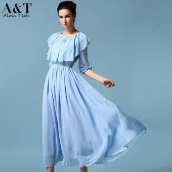 [globalbuy] Wholesale New Ladies 2016 Spring Dress Summer Slim Elegant Sky Blue Large Cape/4224233