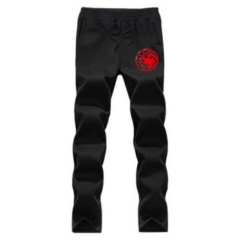 [globalbuy] game of thones Men Pants Casual Skinny Elastic waist fleece Sweatpants Hip Hop/4218621