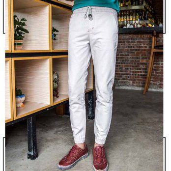 [globalbuy] Big Boys Ripped Pants Men Casual Full Length Pencil Pants Adjust Waist Youth M/4218619