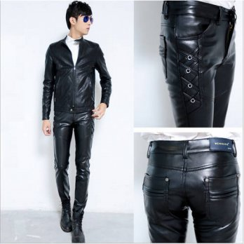 [globalbuy] Wholesale Autumn and Winter Men Pants Fashion 2016 slim Male personality motor/4218617