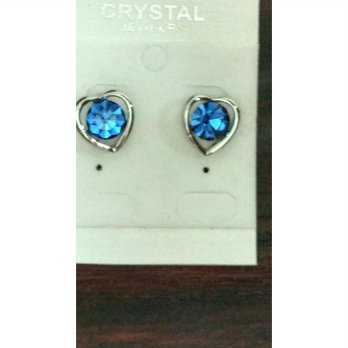 Anting Lovely 9k Gold Filled Heart Shaped Blue Crystal Rhinestone