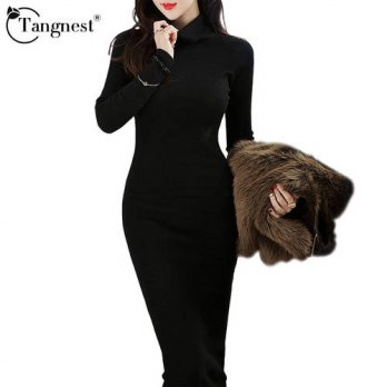 [globalbuy] TANGNEST Women Dress 2016 Casual Business Knitwear Autumn Winter Bodycon Turtl/4224319