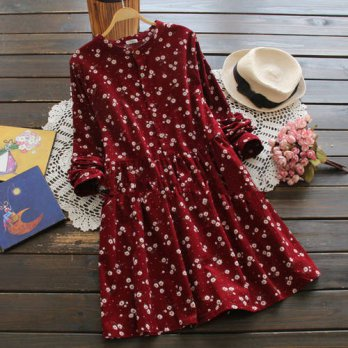[globalbuy] 2016 spring and autumn sweet print basic dress plus size loose long-sleeve cor/4224315
