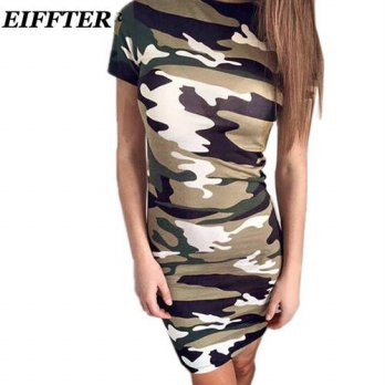 [globalbuy] 2016 Summer Fashion Short Sleeve Sexy Bodycon Pencil Dress Women Camouflage Ar/4224284