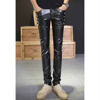 [globalbuy] 2016 European style Casual Trousers personality Sequined PU Faux Leather patch/4218579