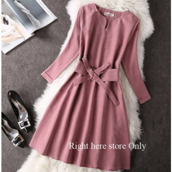 [globalbuy] Autumn Winter Women Dress Long Sleeve Suede 2016 Elegant Casual bodycon Prom P/4224260