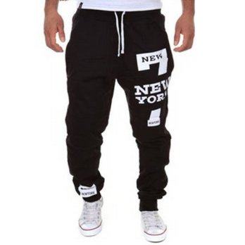 [globalbuy] Mens Joggers Pants 2016 Brand Male Cargo Pants Slim Letters Printed Tights Tro/4218530