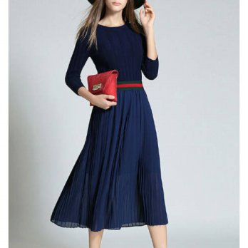 [globalbuy] 2016 New Autumn Winter Fashion Long Dress Midi-Calf Knitted Ruffle Casual Slim/4224218