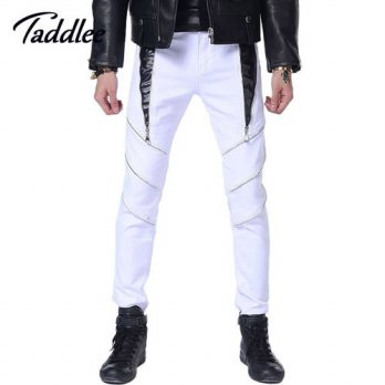 [globalbuy] Mens Trousers Puck Style Slim Fit Skinny Jeans Long Pants Trousers Bottoms Str/4218491